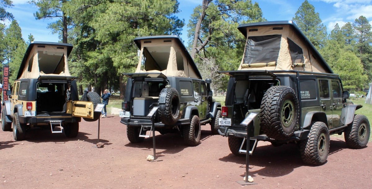 A trio of Amercican Safari JXL Wrangler pop-up campers