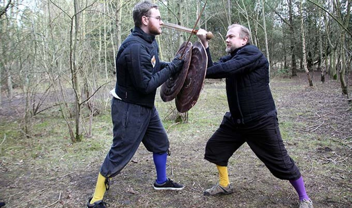 Research into Bronze Age swords involved staging experimental fights using replica weapons