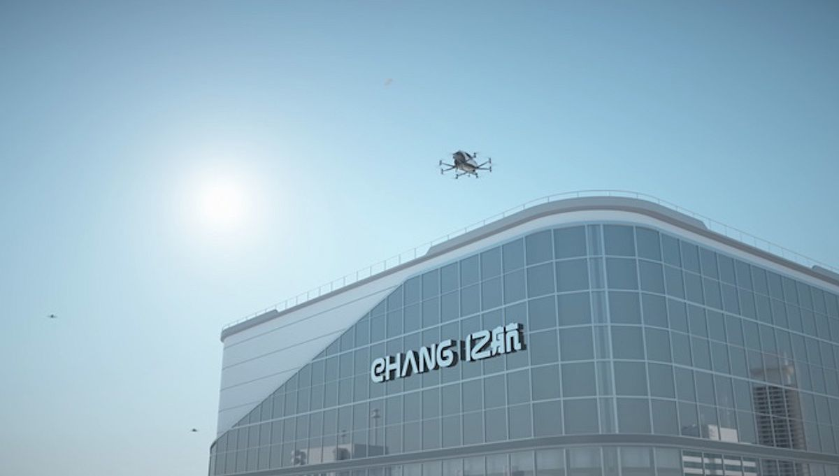 Render showing an EHang 216 air taxi taking off from the E-port in Hezhou