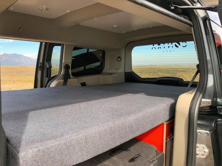 A look at the set up Contravans Family Camper Van bed