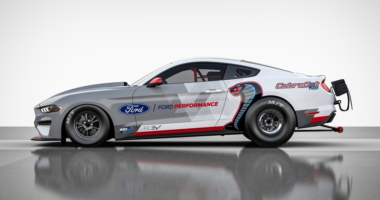 The Mustang Cobra Jet 1400 has a 1,400-hp all-electric powertrain
