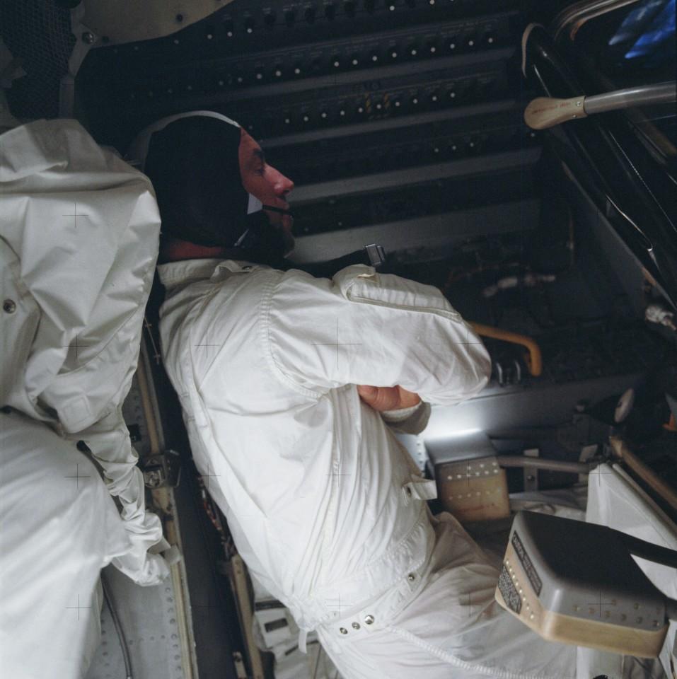 Lovell trying to sleep aboard Aquarius
