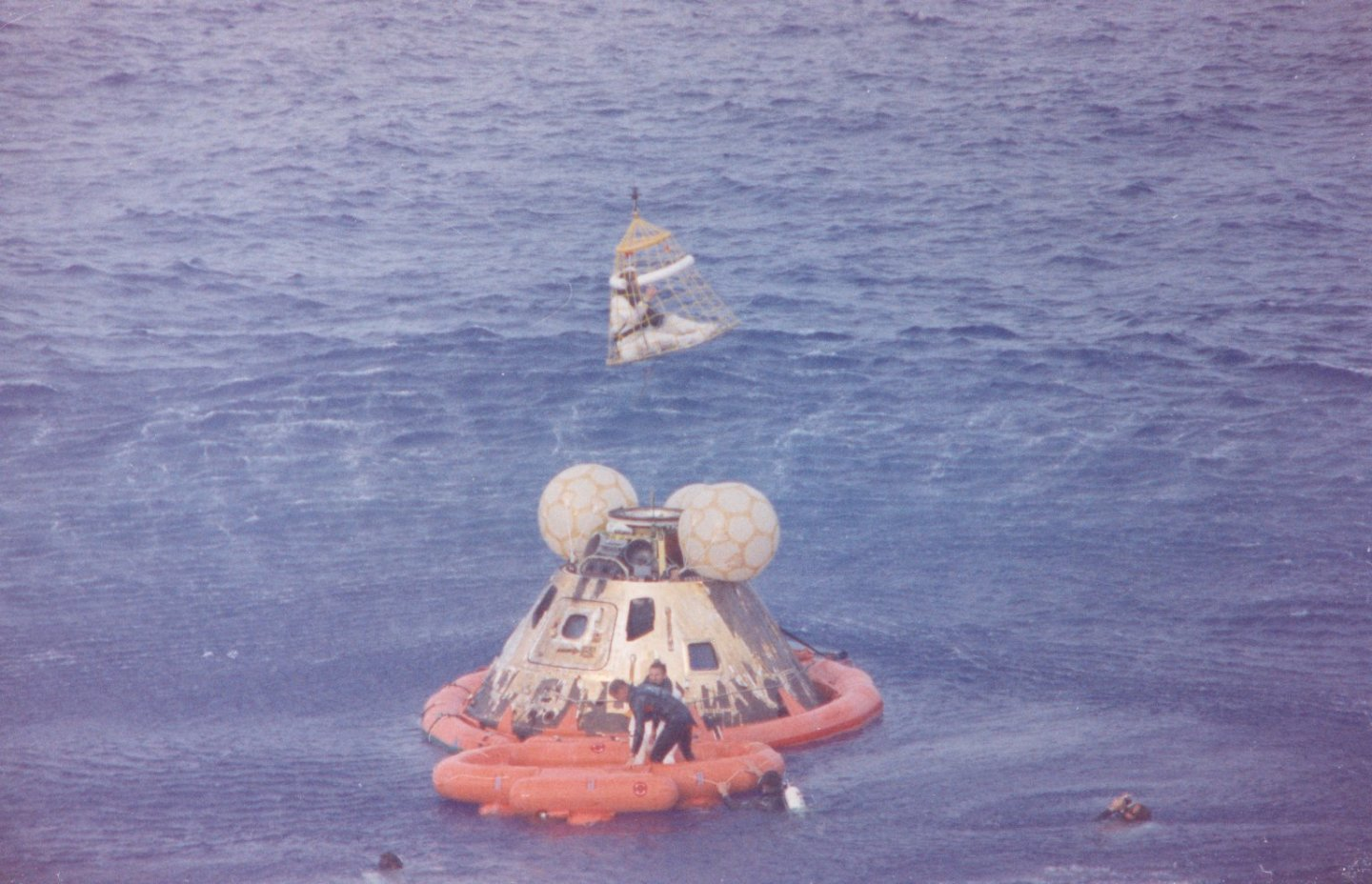 Apollo 13 being recovered after splashdown