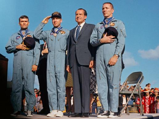The crew of Apollo 13 with President Richard Nixon