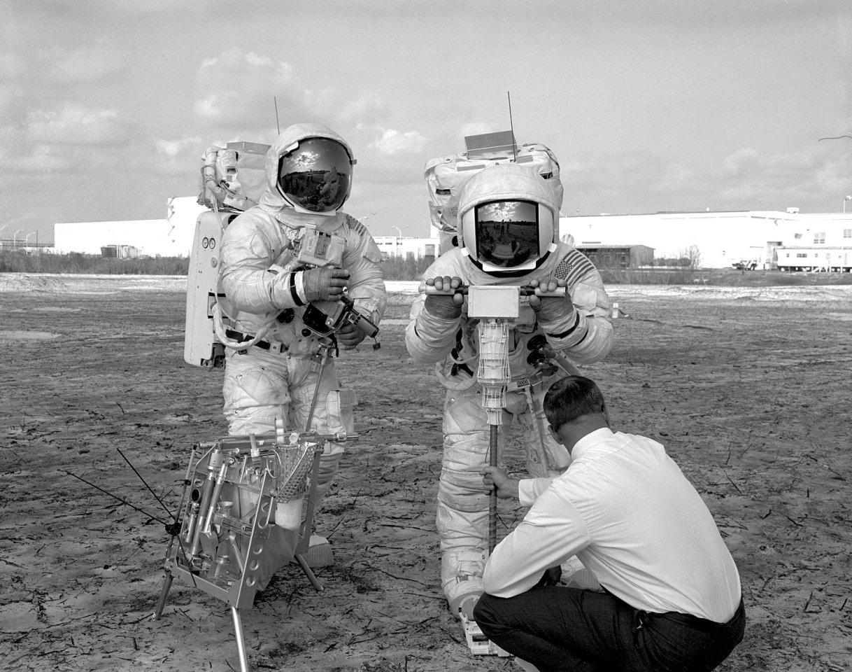 Apollo 13 astronauts rehearsing a lunar EVA
