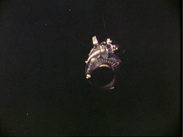 The Apollo 13 service module after separation