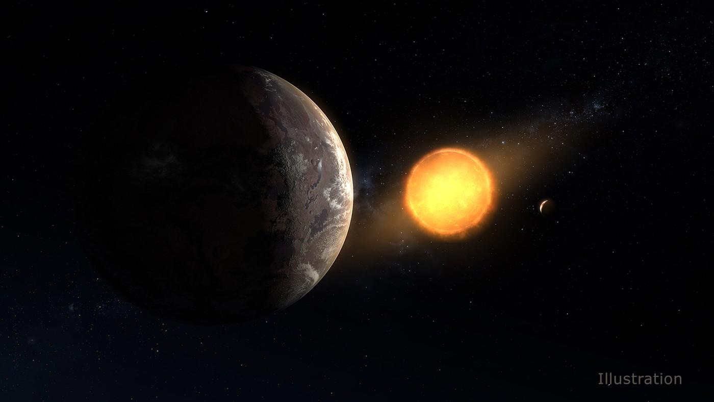 Artist's concept showing exoplanet Kepler-1649c orbiting its host red dwarf star