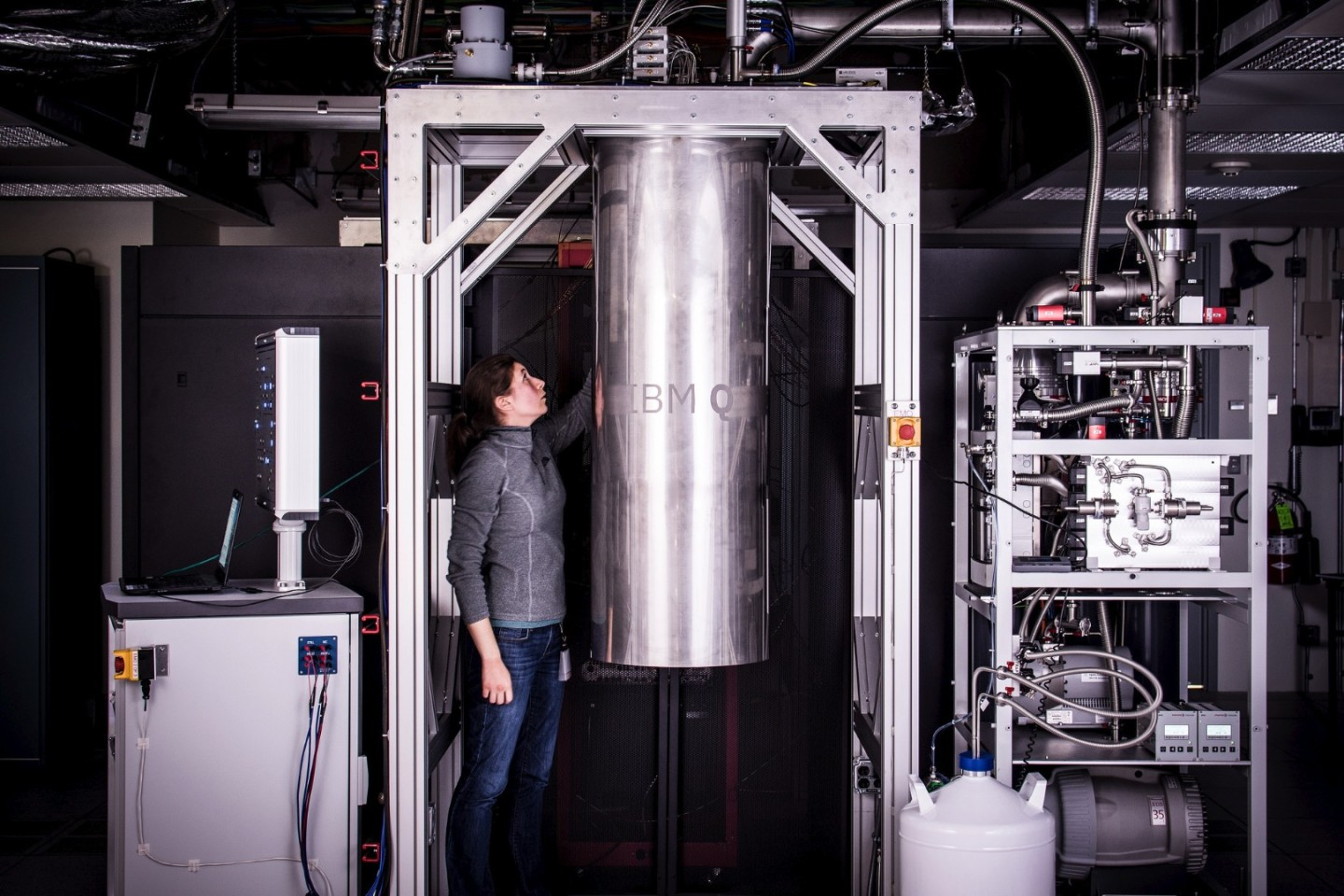 IBM's 2017-model, 16-qubit quantum processor, seen here encased in a cryogenic chamber