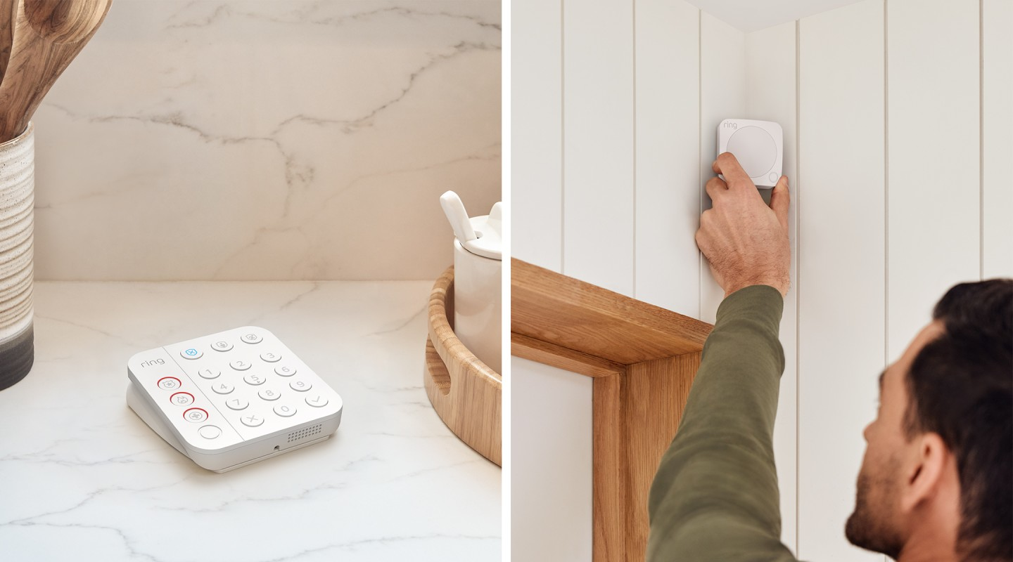 Users can call emergency services from the keypad, while Ring promises easier installation of sensors