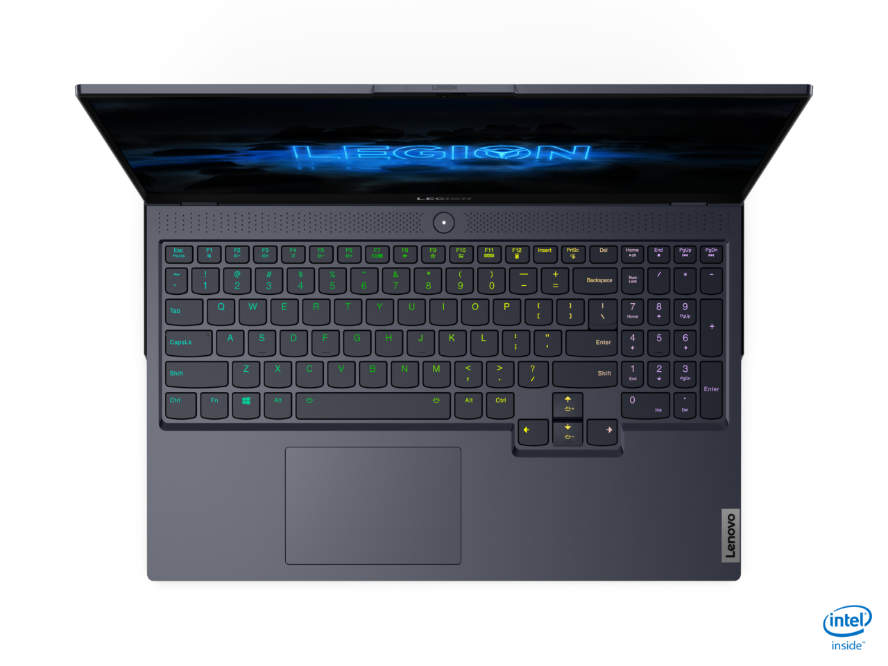 The Legion 7i sports a full-size RGB backlit keyboard and large trackpad