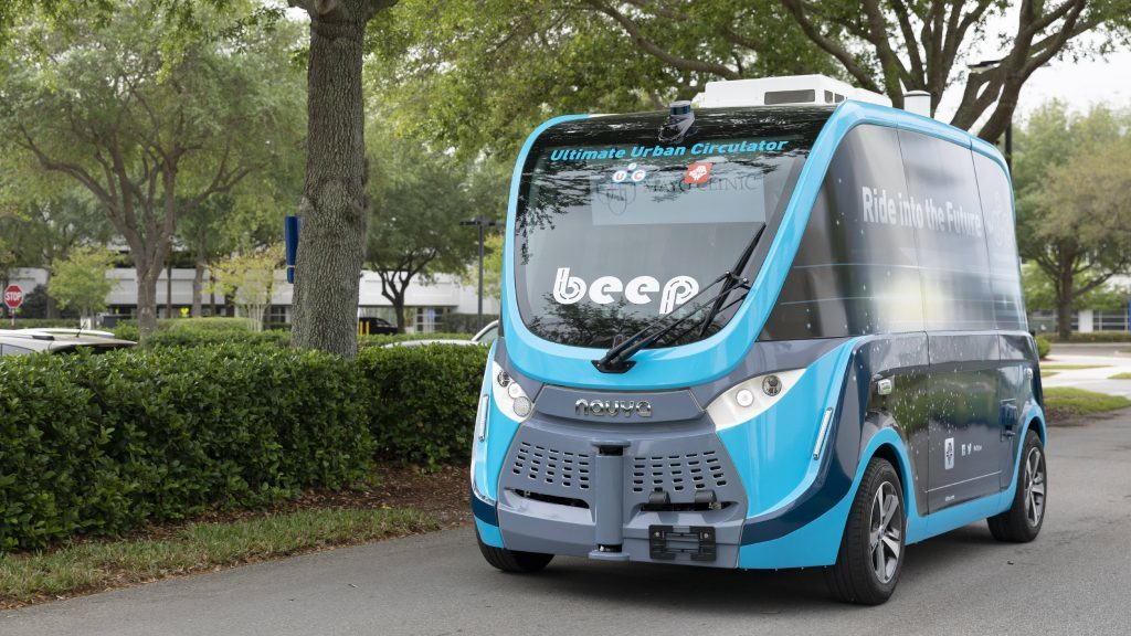 Autonomous shuttles are being used to move COVID-19 test samples around the Mayo Clinic campus in Florida