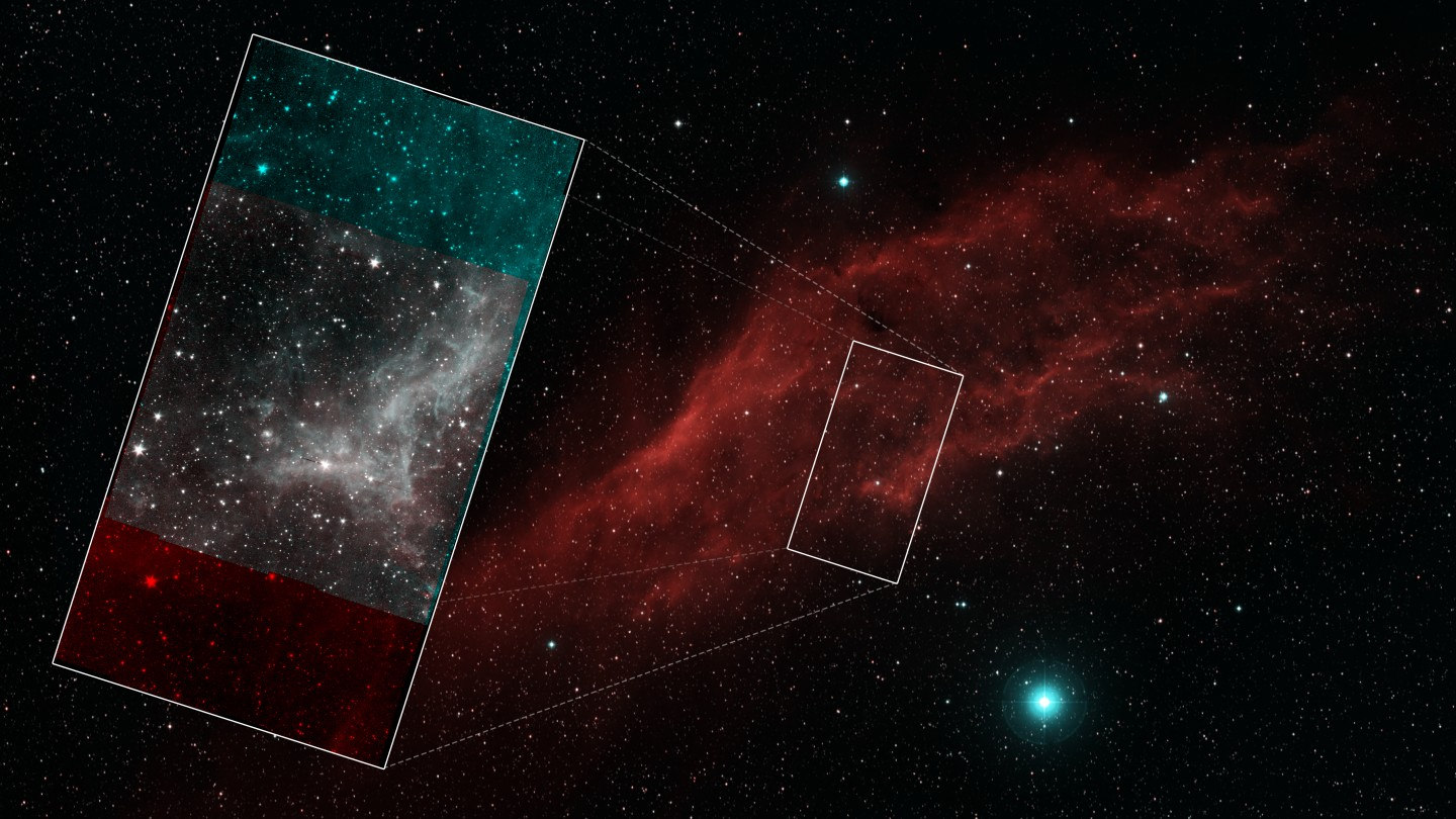 The context of the final Spitzer mosaic, showing which part of the California Nebula it was imaging
