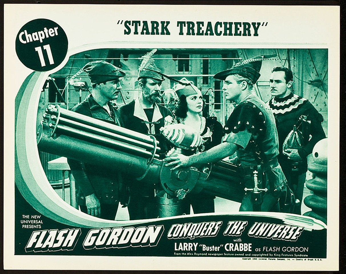 """Flash Gordon was featured in three serial films: Flash Gordon (1936), Flash Gordon's Trip to Mars (1938), and Flash Gordon Conquers the Universe (1940). These movie serials were popular during the first half of the 20th century, consisting of a series of weekly episodes exhibited in consecutive order at theaters during the """"shorts."""" Each episode ended in a """"cliffhanger"""" which helped to entice the audience back to the movie theater the following week for the next feature film, making the extremely popular Flash Gordon important to generating box office in movie theaters as audiences followed his adventures over months. Lobby cards such as this were important in promoting the next episode of the serial and are now highly sought after by collectors"""