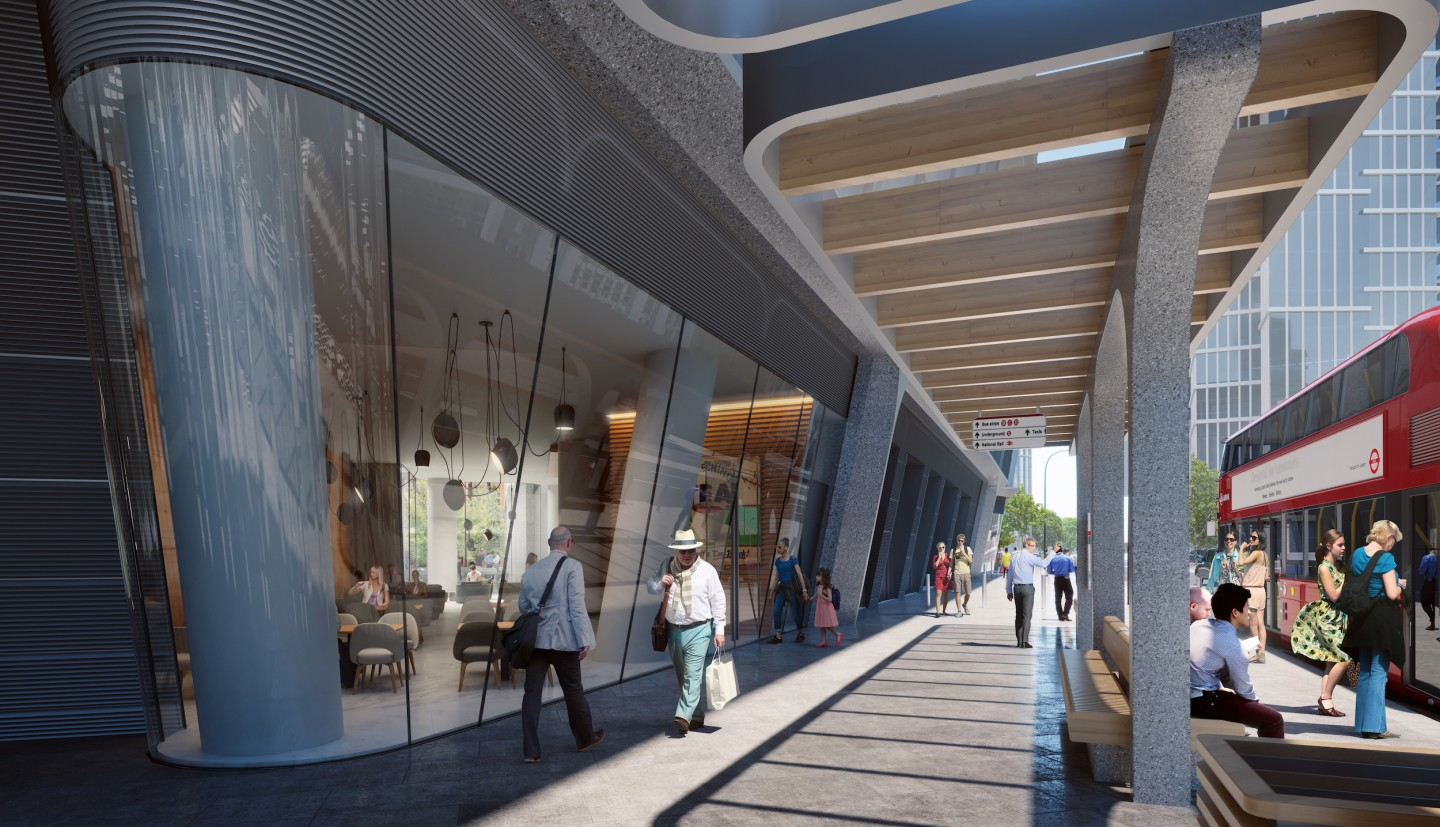 Vauxhall Cross Island's ground floor will host retail and dining space
