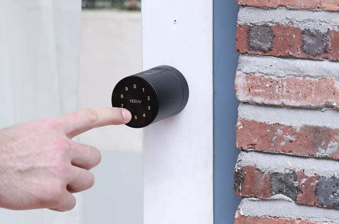 The S1 Smart Lock has a touchscreen on the front with a ring of numbers for entering passcodes