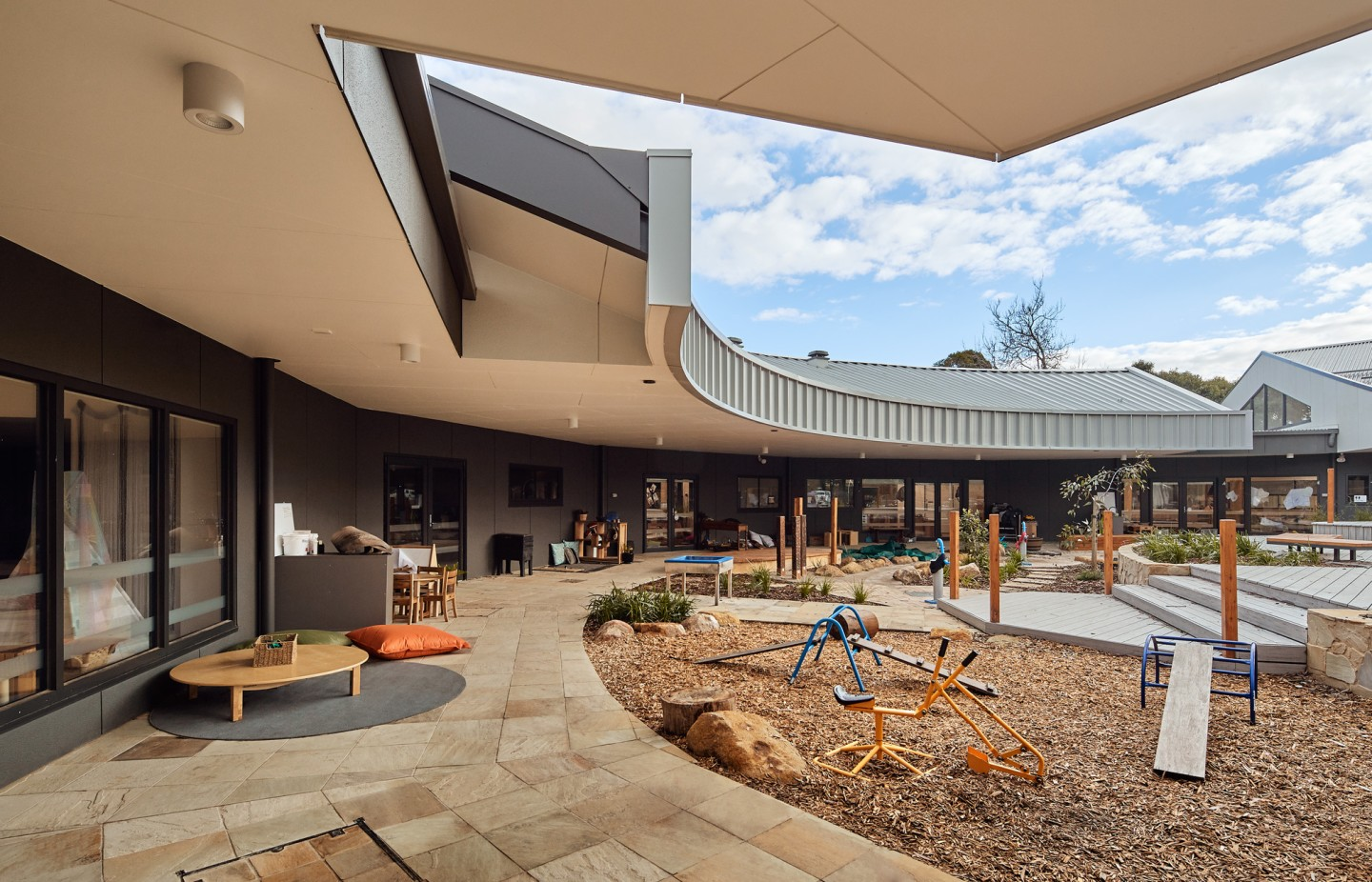 The Bayswater Early Years Hub's exterior has some shaded areas to relax while keeping an eye on the kids at play