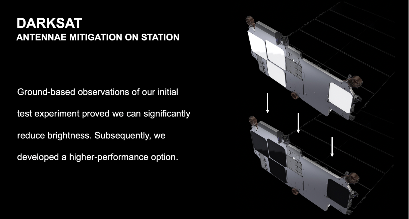 The dark satellite launched by SpaceX was designed to lower its apparent brightness from Earth
