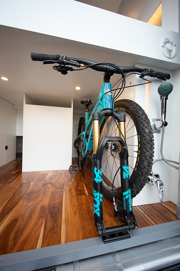 The rear load area was designed around carrying two mountain bikes (front wheels off)