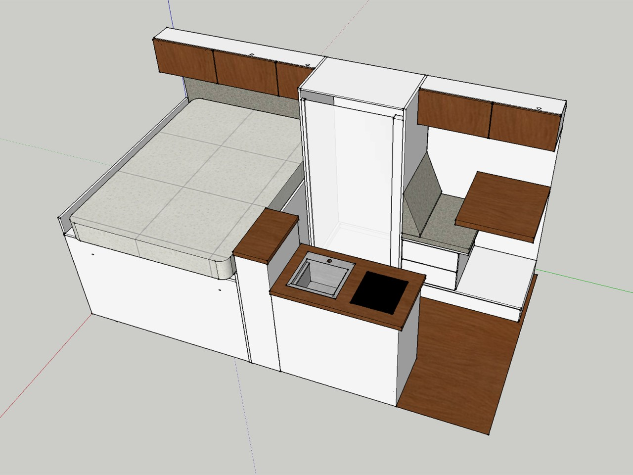 To make room for the central wet bath of the Basecamper Plus, RSV slides the dinette to the front, relying on swivel cab seats
