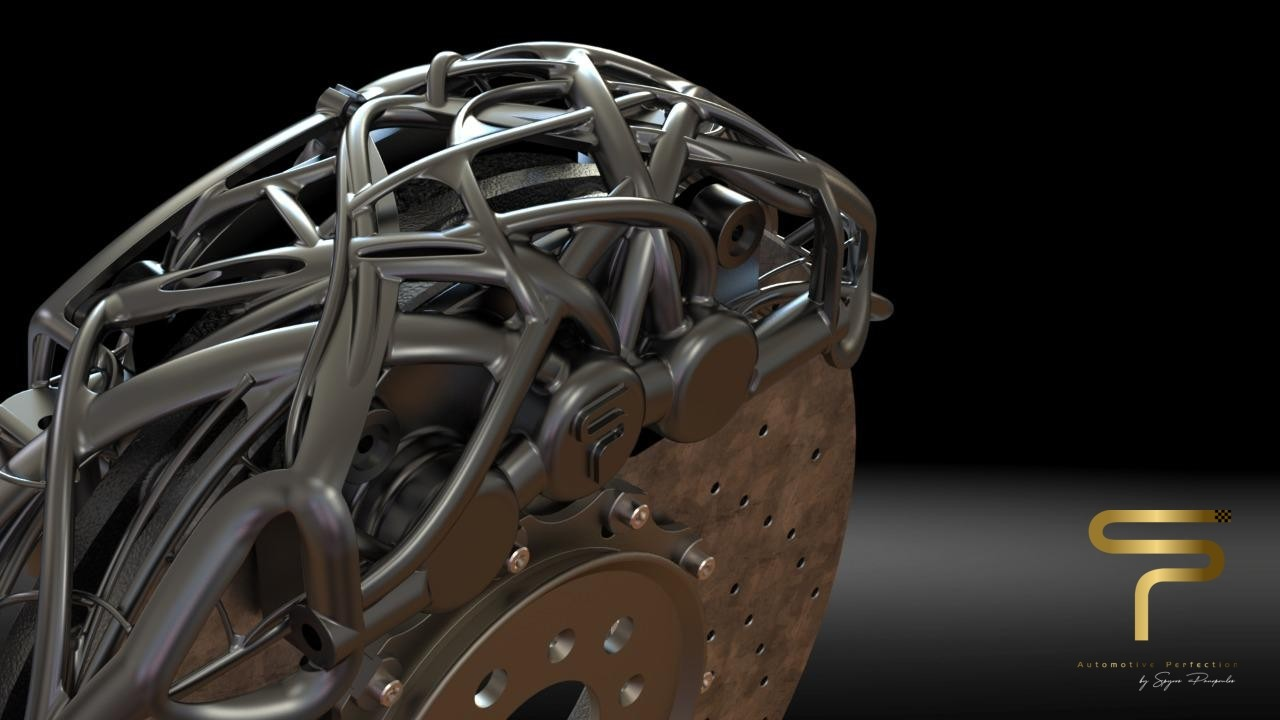 "The alien, organic shapes of the ""anadiaplasi"" process. This is a close-up on the brake caliper design"