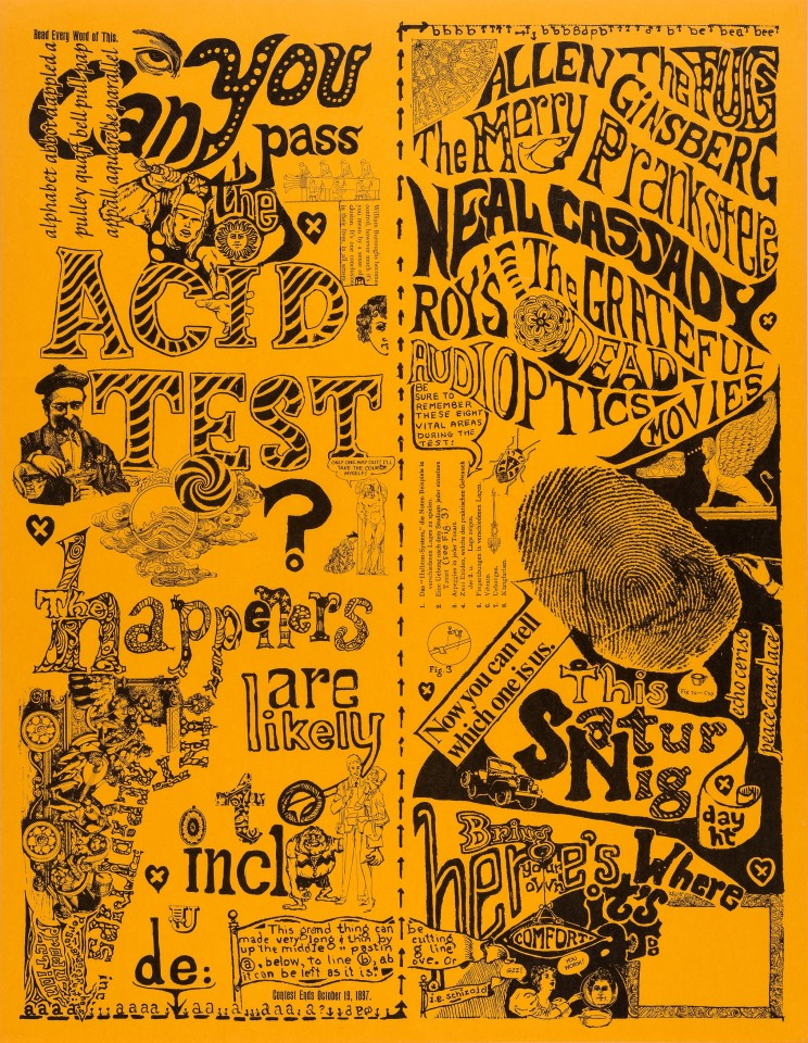 One of the most culturally significant concert posters of the era, this 1965 Can You Pass the Acid Test? Poster features names such as avant-rock band The Fugs, Allen Ginsberg, Neal Cassady, The Merry Pranksters, and the very first appearance of the newly named Grateful Dead. This poster was used to publicize Ken Kesey's Acid Tests. This near perfect, unused poster sold for just $15,000.