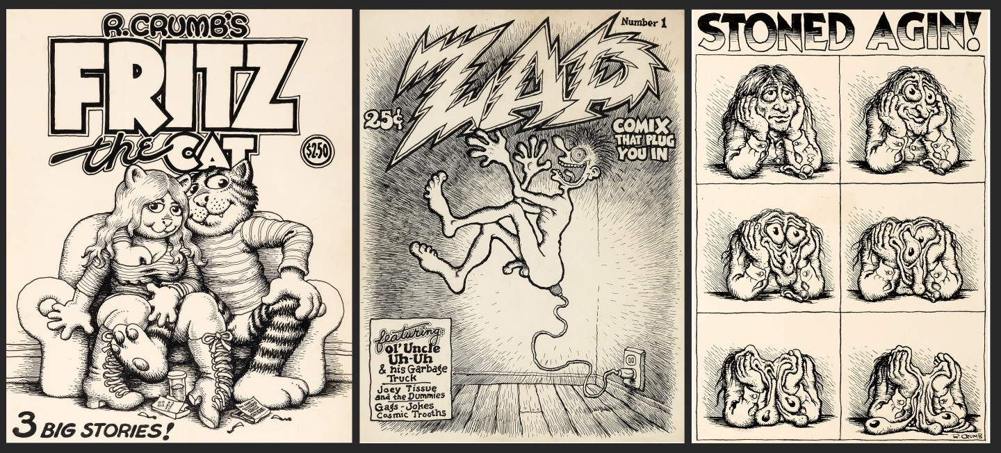 """Original cover art by Robert Crumb for his underground comic classic Fritz the Cat sold for $717,000 in 2017, surpassing Batman, Spiderman, The Incredible Hulk, Superman et al., to become the most valuable piece of American comic art ever sold. Later in 2017, Crumb's unused cover art for Zap Comix #1 sold for $525,800 at auction, and in 2019, Crumb's """"Stoned Agin!"""" cartoon art sold for $690,000."""