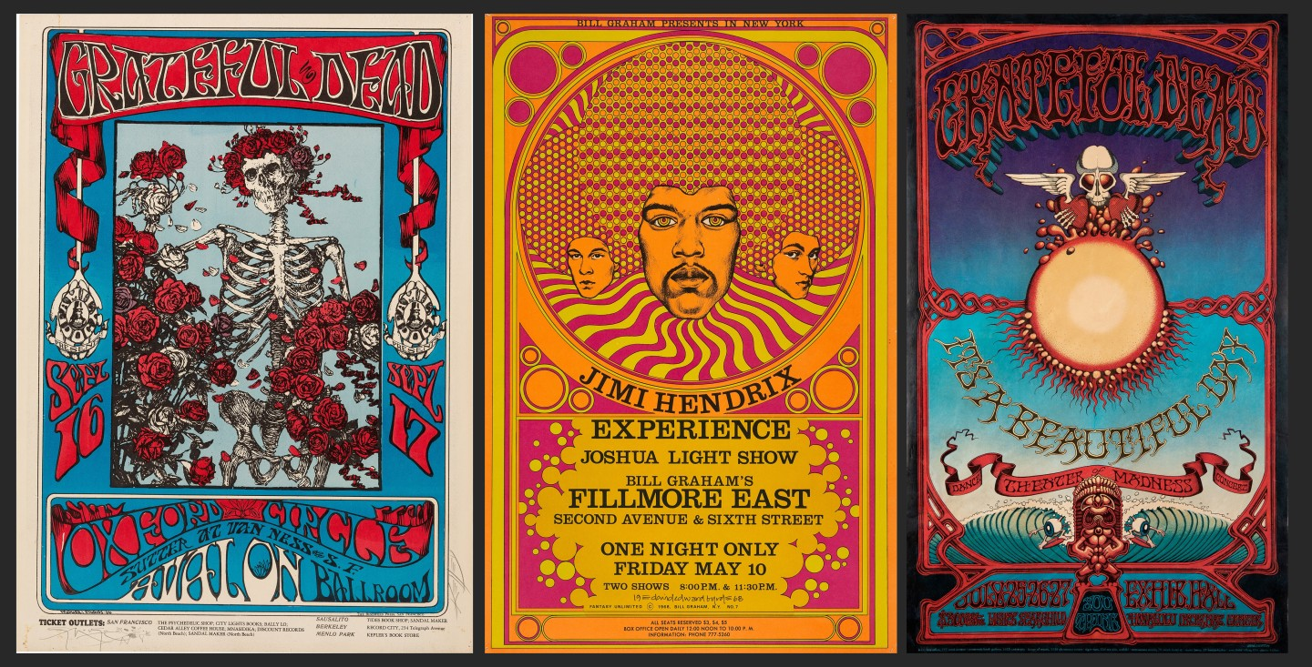 """Three posters sold at auction this week look like blue-chip long-term investments. At left is a 1966 Grateful Dead """"Skeleton & Roses"""" Family Dog psychedelic Concert Poster that sold for $17,500. The concert was held at the Avalon Ballroom in San Francisco on September 16 & 17, 1966, with the Oxford Circle as opening act. In the center is a 1968 Jimi Hendrix Fillmore East Concert Poster that sold for $15,000. In the center is a 1966 Grateful Dead """"Skeleton & Roses"""" Family Dog psychedelic Concert Poster that sold for $17,500. The concert was held at the Avalon Ballroom in San Francisco on Sept.ember 16 & 17, 1966, with the Oxford Circle as opening act. At right is a 1969 Grateful Dead Hawaiian Aoxomoxoa Concert Poster that sold for $16,250. This poster was designed by the most popular of all psychedelic poster artists, Rick Griffin. These shows were to be held at the Honolulu International Center but were canceled, making for an instant collector's item as most of these posters were thrown away instead of being posted. This poster is so rare that this is the first one Heritage Auctions has ever handled."""