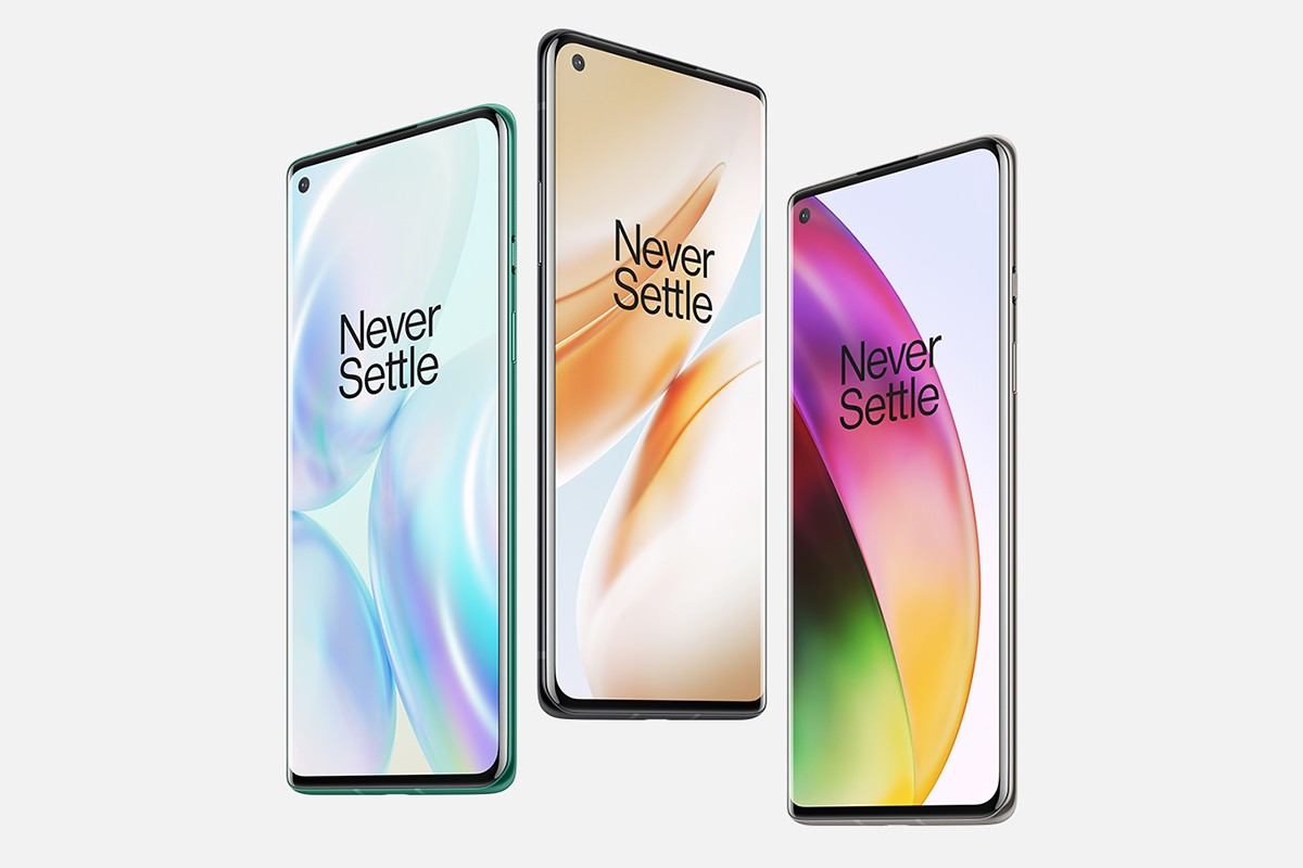 The new phones (OnePlus 8 shown here) have punch-hole selfie cameras on the front