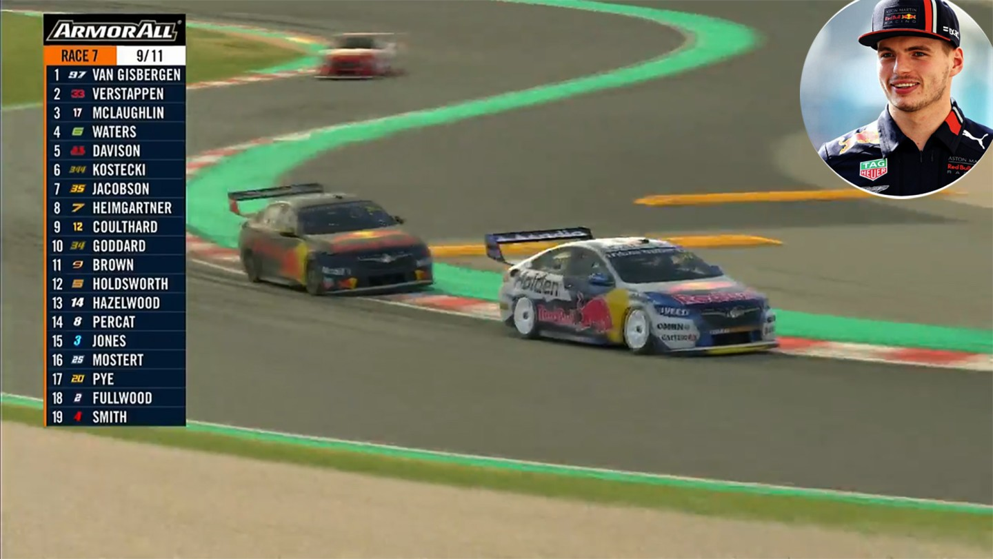 With two laps to go in the final BP Supercars All Stars Eseries race on Wednesday April 15, close friends Max Verstappen and Shane Van Gisbergen find themselves locked in a tussle for the lead