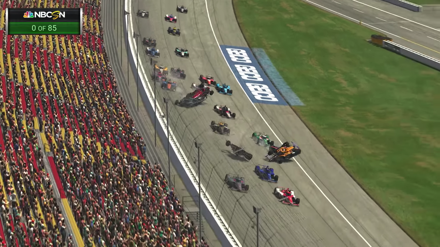 The most recent INDYCAR iRacing Challenge, the Chevrolet 275 at Michigan International Speedway was held on Saturday April 17. Reigning Indianapolis 500 champ Simon Pagenaud won a race that featured nine leaders and 18 lead changes. Pagenaud averaged 189.463 mph after starting 22nd in the 31-car field. The race was slowed by only one caution period due to a multi-car crash on the front straightaway as the field took the green flag to start the race