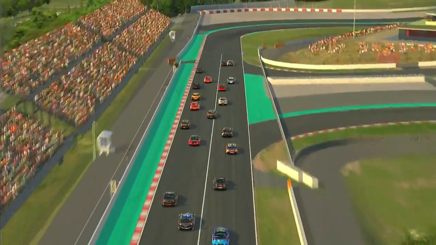 Race 7 in Round 2 of the BP Supercars All Stars Eseries and this is the first corner at Circuit de Barcelona