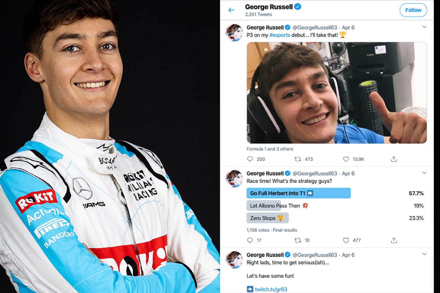 Rockit Williams F1 Racing's George Russell brings personality-plus to any equation. George scored a podium in his first virtual competition and was thoroughly delighted