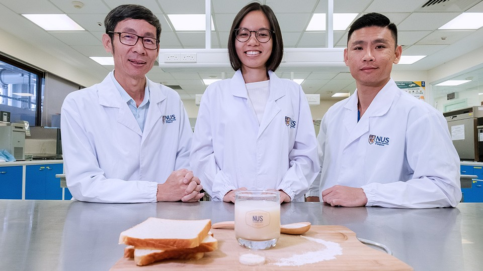 The research team, from left to right – Assoc. Prof. Liu Shao Quan, Miss Nguyen Thuy Linh and Dr. Toh Mingzhan