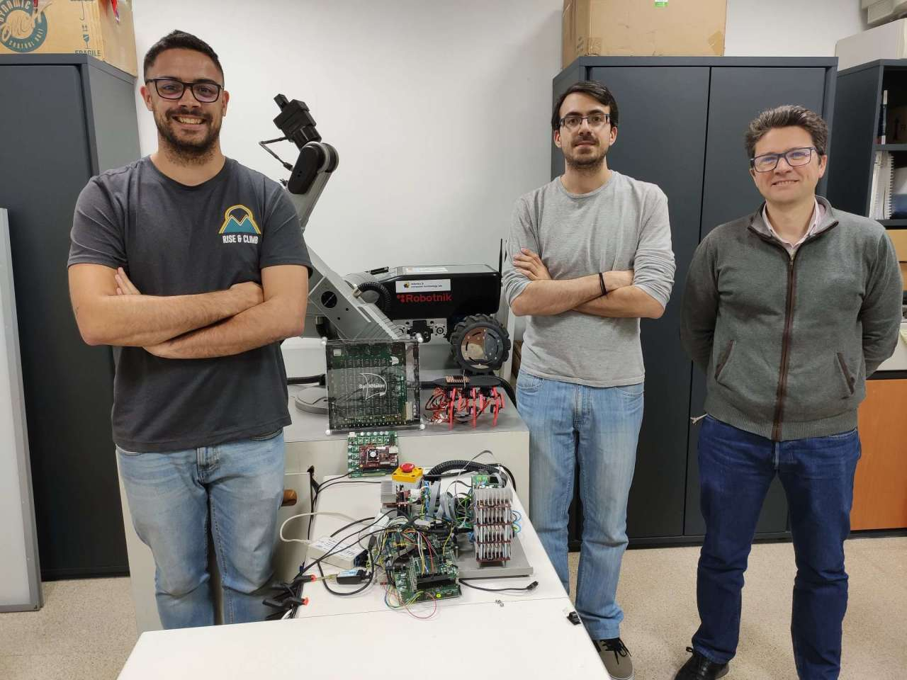 From right to left, team members Juan Pedro Domínguez, Alejandro Linares and Daniel Gutiérrez