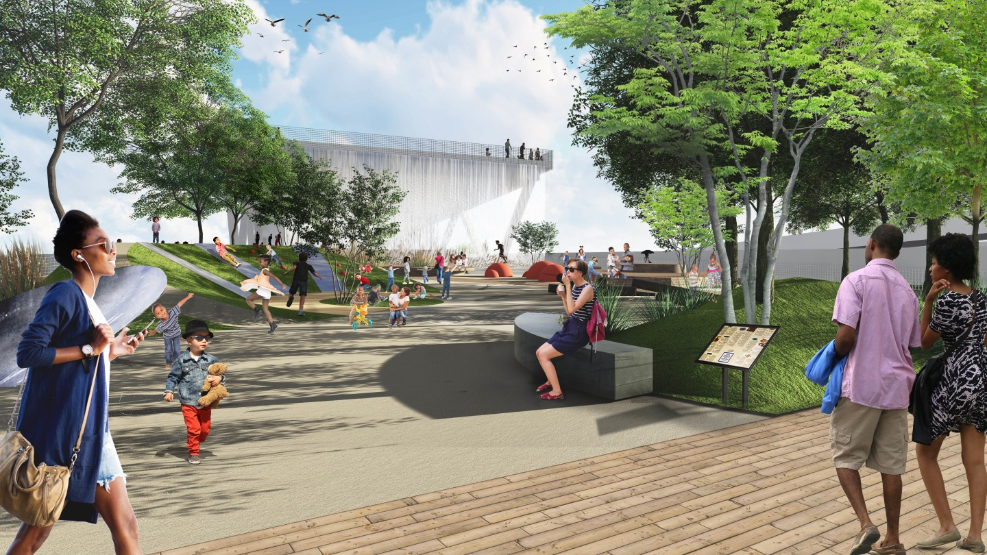 The 11th Street Bridge Park will include garden areas, an educational center, amphitheater, and more