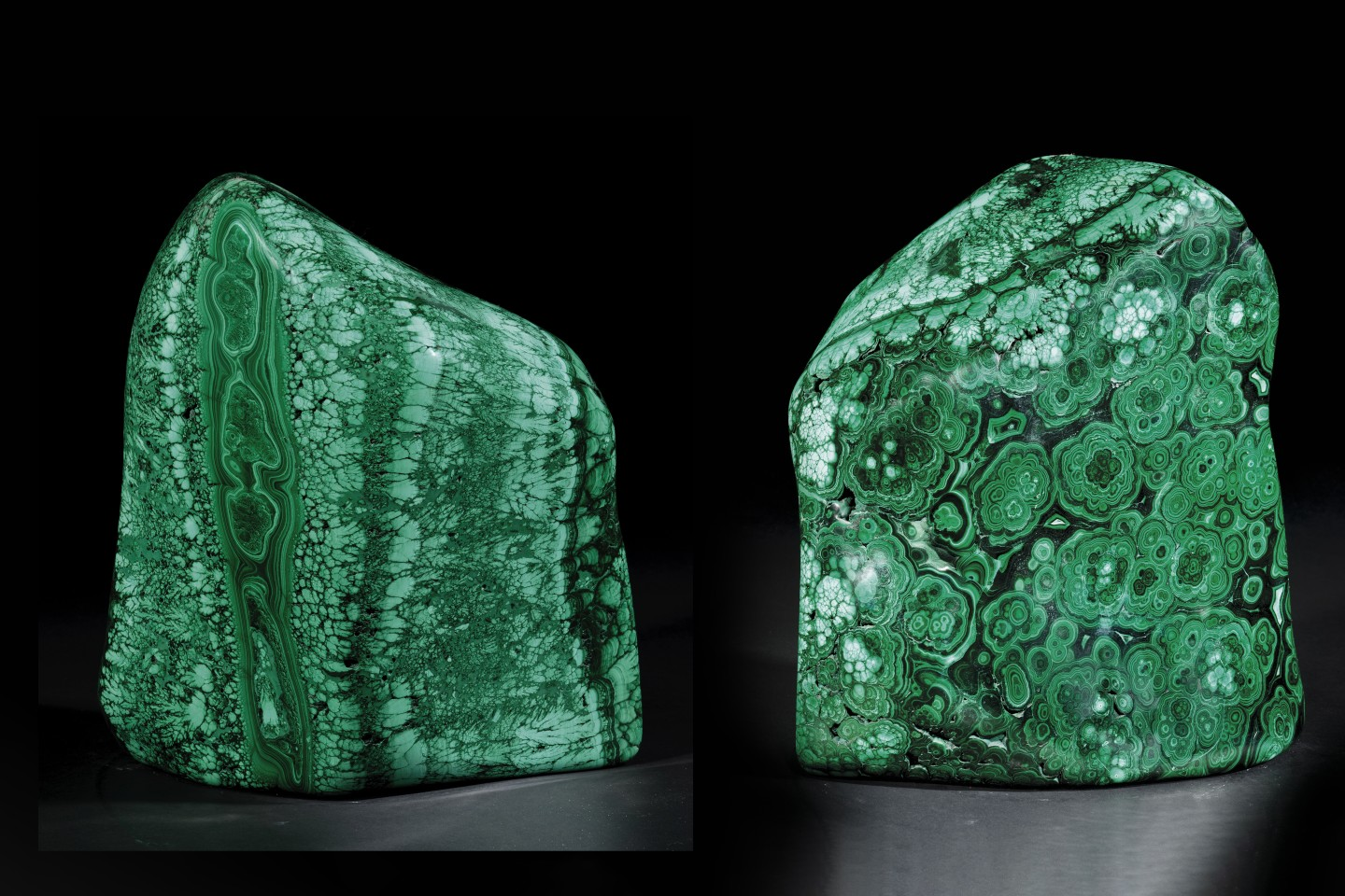 Originating from the Congo, this large free-standing specimen of malachite is polished on all sides and measures 113⁄4 x 11 x 8 inches (30 x 28 x 20 cm)