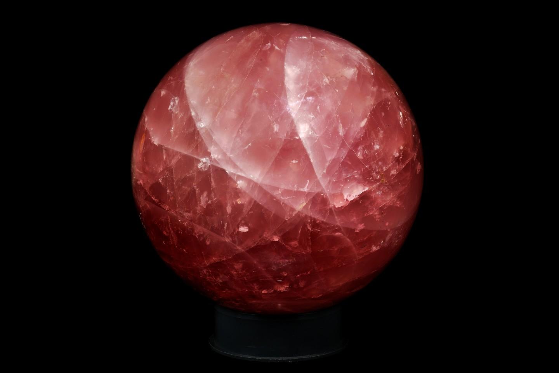 A 9 inch (23cm) diameter sphere of rose quartz