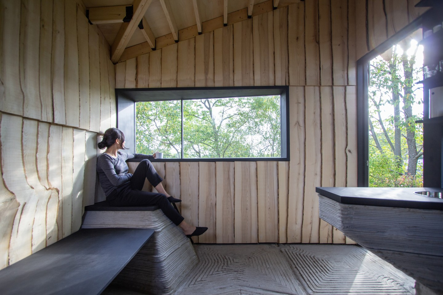 Ashen Cabin's interior decor has a simple rugged appearance thanks to the use of 3D-printed concrete and beetle-damaged wood