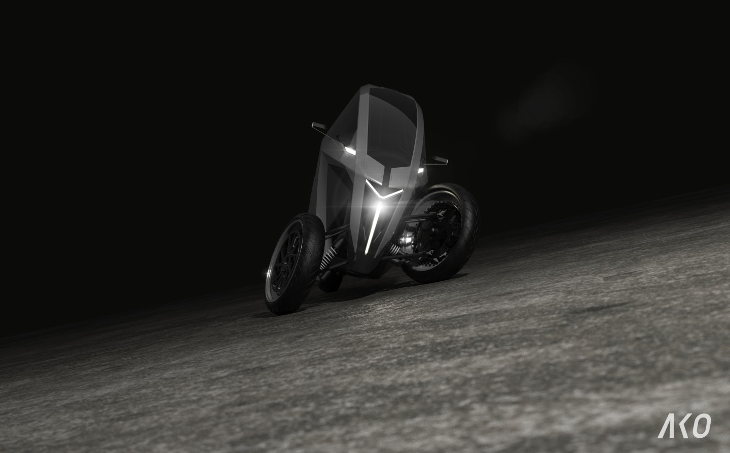 The proprietary tilting mechanism will see the AKO Trike lean into bends at up to 30 degrees