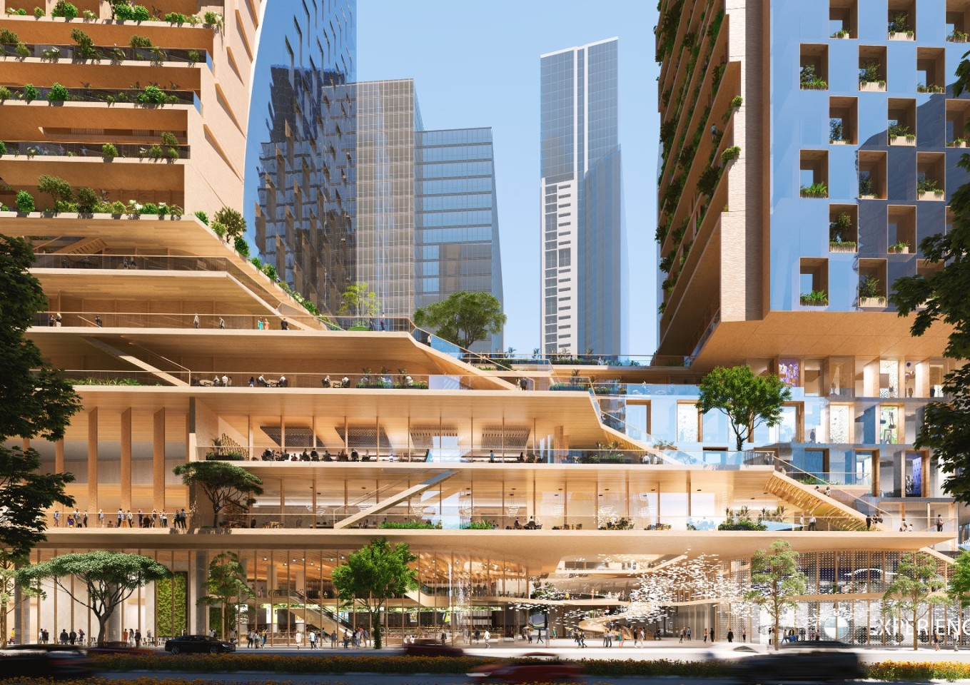 Southbank by Beulah will include apartments, office space, public green spaces, a rooftop sky garden, town hall, wellness precinct, retail space, and more