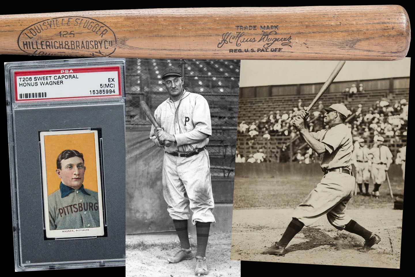 The name Honus Wagner is best known for the spectacular prices his T206 baseball card fetches. The card pictured at left sold for $3.1 million. What most people don't realise is that Wagner was a baseball player of the same calibre as Ty Cobb, Lou Gehrig, Babe Ruth and Mickey Mantle. Wagner was the very first American sportsperson to sign an endorsement deal, and the pictured 1916-1917 Louisville Slugger Model 125 is a pristine example of the very first endorsed baseball bat. Much has been written that the reason for the scarcity of the Honus Wagner T206 baseball card is that Wagner refused to endorse tobacco and demanded the cards were pulled. In fact, Wagner accepted payment to endorse chewing tobacco at a later date. The lucrative nature of the Hillerich & Bradsby deal, inked in 1905, seems far more likely to have made him aware that he was entitled to payment if his likeness was to be used on a baseball card. Pictured is Honus Wagner's 1916-1917 Louisville Slugger Model 125 that sold for $428,000 at Goldin auctions last August.