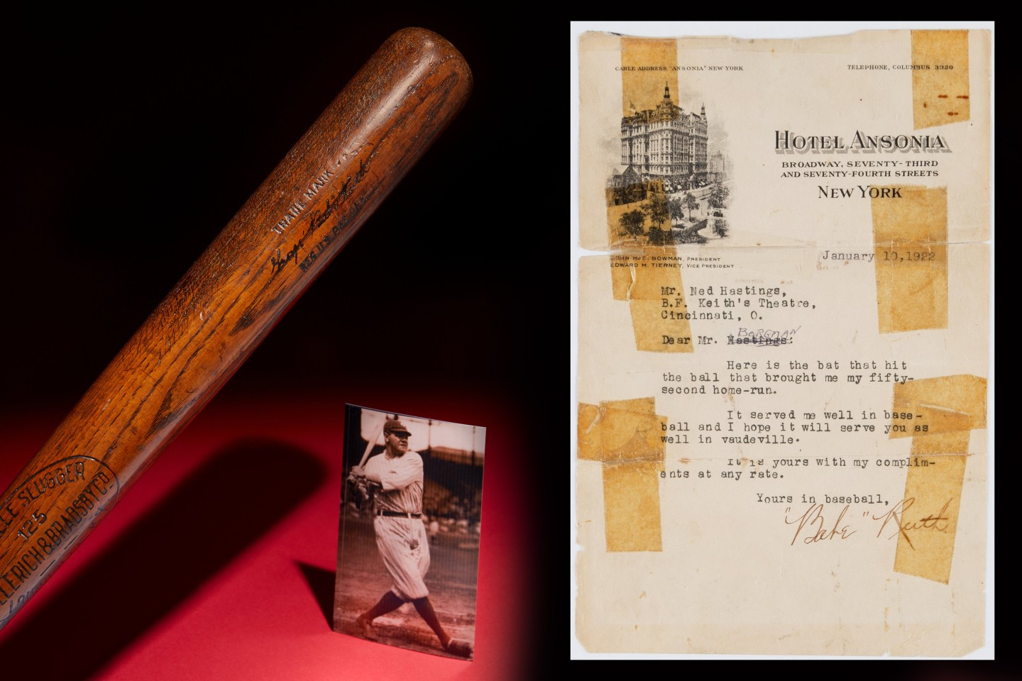 Babe Ruth 1921 Baseball Bat | Auction House: Heritage Auctions | Price fetched: $930,000 | Auctioned: May 9, 2020