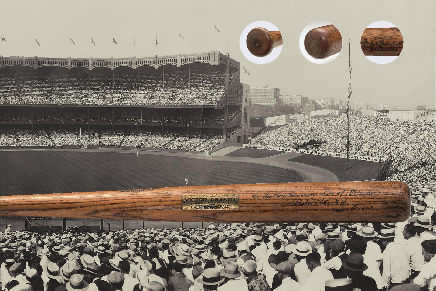 Babe Ruth 1923 Baseball Bat | Auction House: Sotheby's/SCP | Price fetched: $1,265,000 | Auctioned: December 2, 2004
