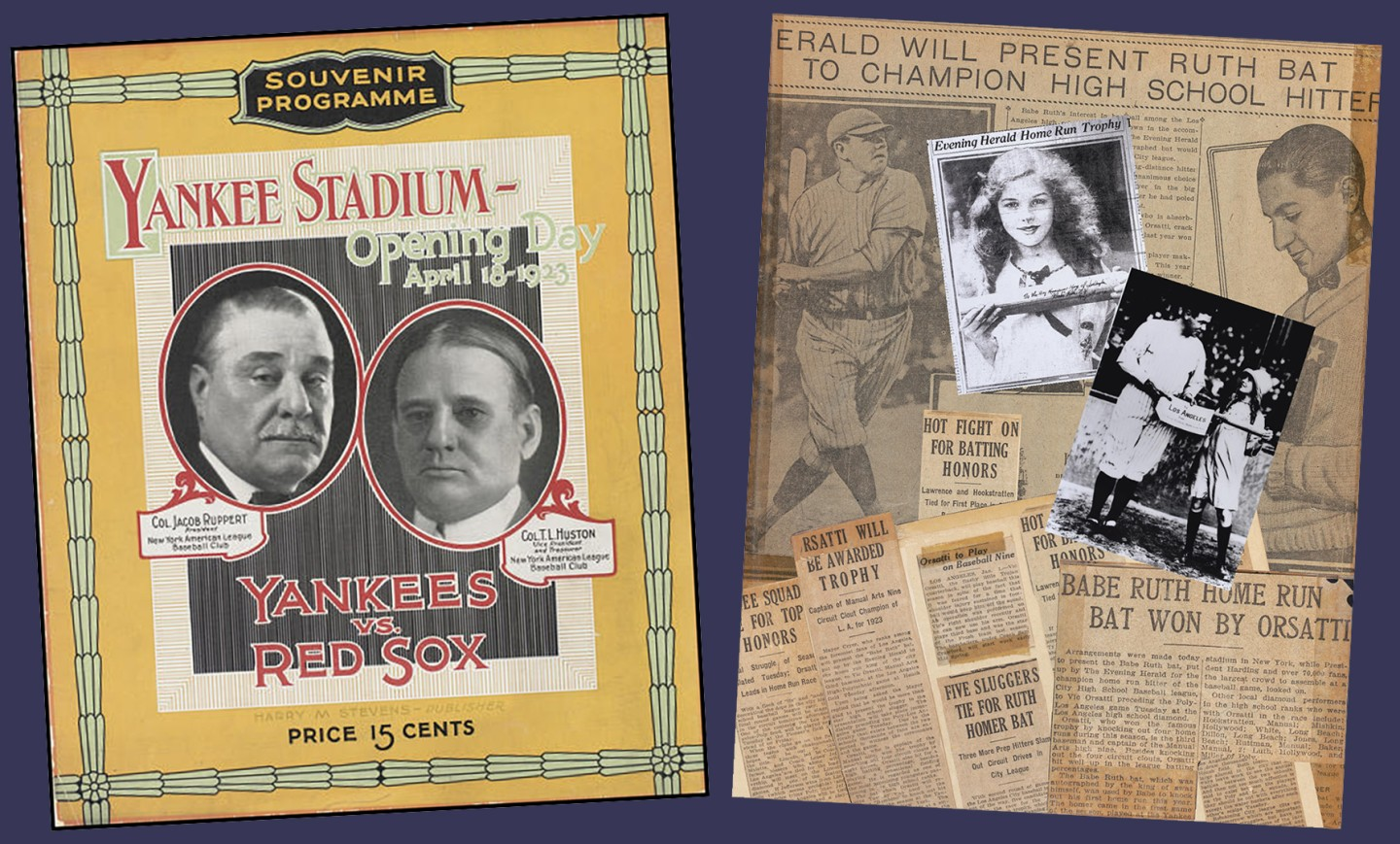 The opening day programme at the old Yankee Stadium and press clippings of the Los Angeles Evening Herald Batting Competition