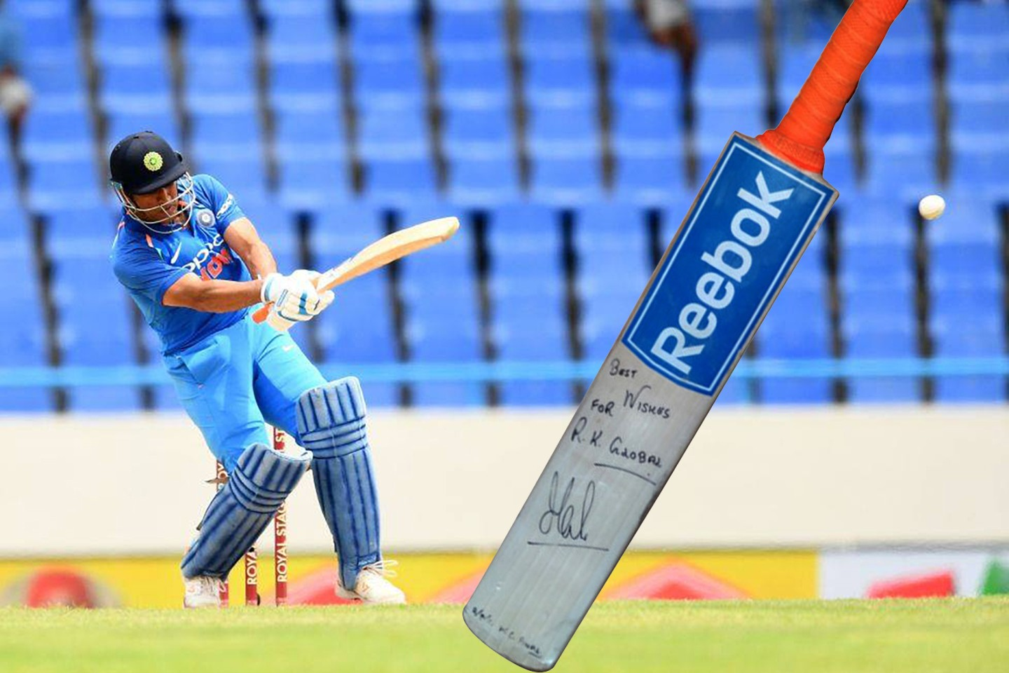 This is the bat with which Mahendra Singh Dhoni won the World Cup for India in 2011, striking 91 runs off 79 balls and lofting the final ball of the match into the crowd. The streets of Mumbai, New Delhi, Kolkata and Chennai were empty as the largest Indian television audience in history witnessed Dhoni's onslaught.