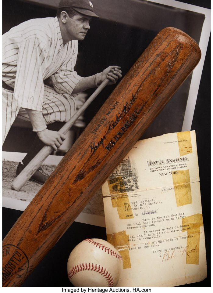 "This impossibly heavy slab of ash is just an eighth-inch shy of a yard in length (35.875"") and a few ounces shy of three pounds in weight (43.2 oz.). To hold this bat, one wonders at the strength of Babe Ruth. One of Ruth's early clouts in his first year at the Yankees, off inaugural Hall of Fame classmate Walter Johnson, cleared the high center field wall of Griffith Stadium, landing 520 feet from home plate. Two months later, Ruth escaped Navin Field with a shot estimated between 575 and 600 feet, the longest verified home run in Major League history. He'd clear the double-deck roof of the Polo Grounds two weeks after that."