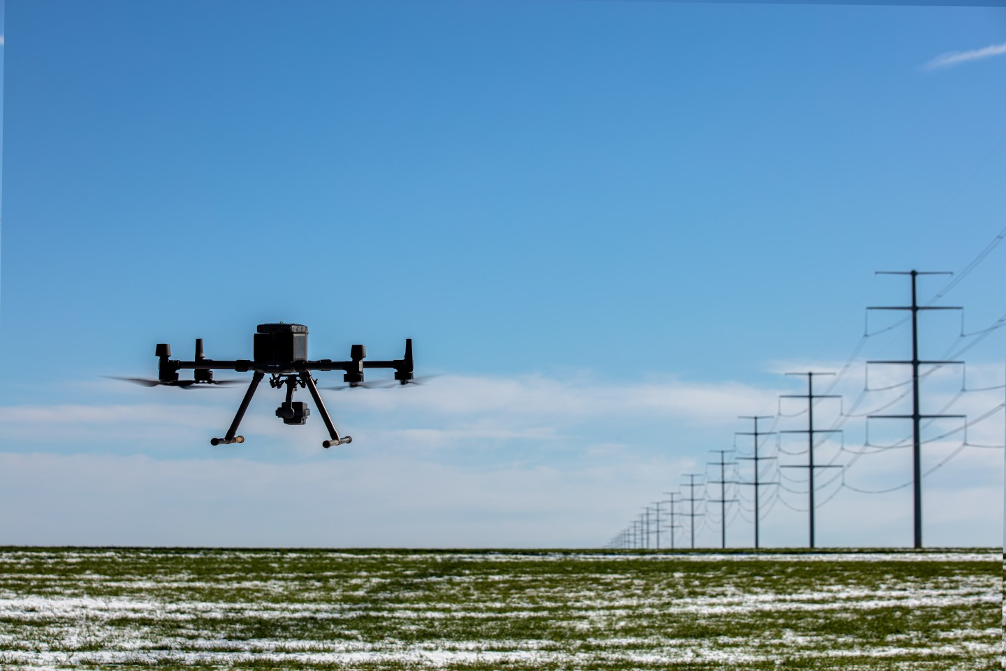 The Matrice 300 RTK drone can stream HD video to an operator 15 km away