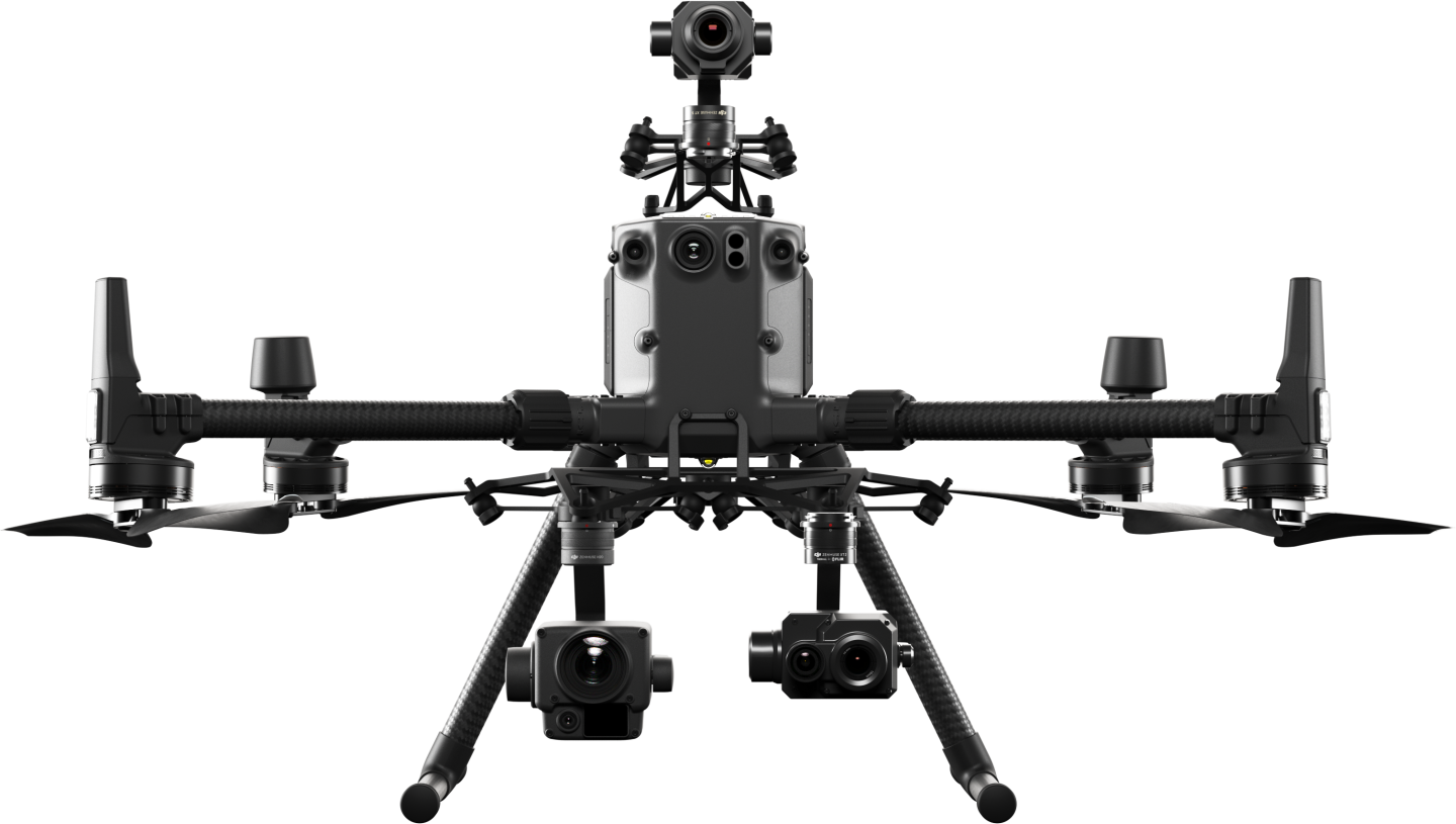The Matrice 300 RTK drone is can accommodate up to three payloads at once