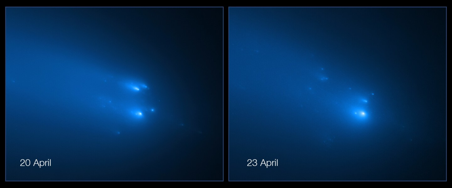 Images taken on April 20 & 23, as Comet ATLAS was in the process of fracturing