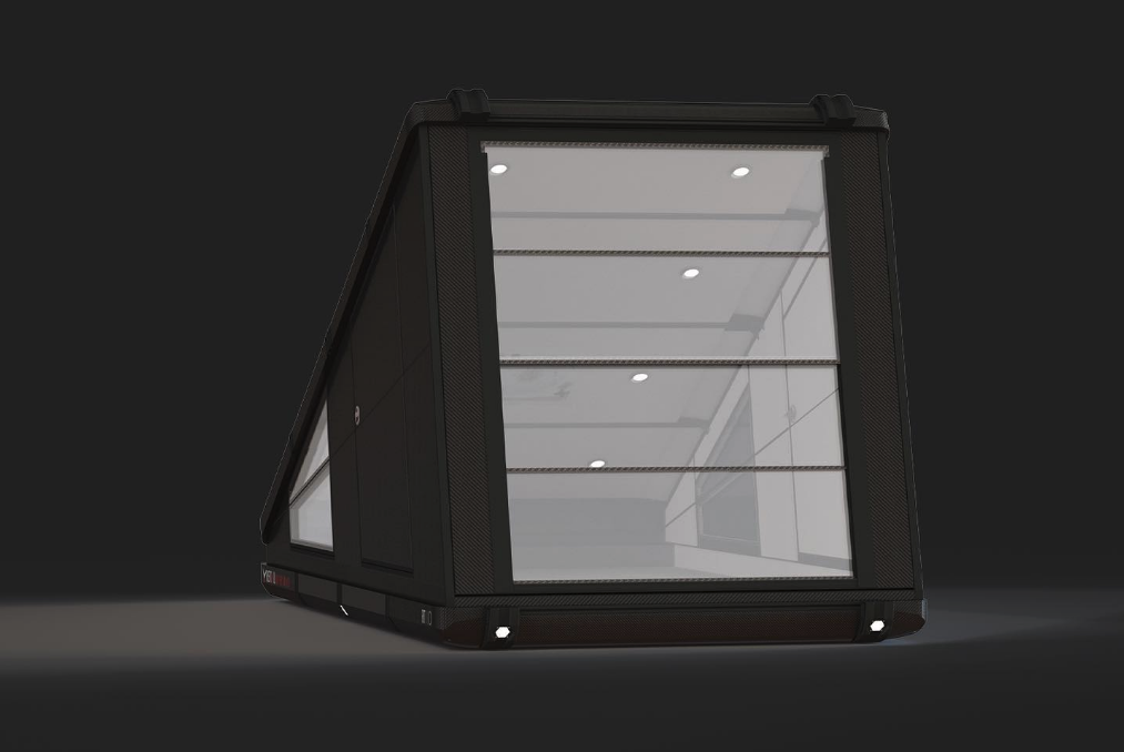 The impact-resistant-polycarbonate rear window panels slide up and down and flip open